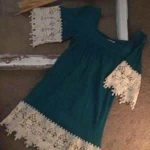 New Umgee Teal & Lace Dress